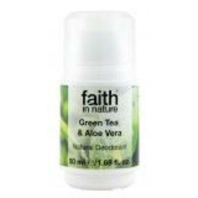 Faith in Nature Sókristály golyós dezodor zöld teával és bio aloe verával (50ml)